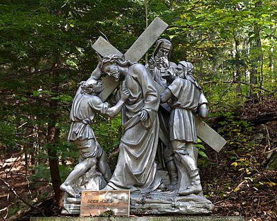 Cross Mixed Media - Simon Helps Jesus by Terry Reynoldson