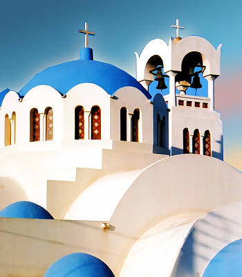 Blue Cross Painting - Simple Graphic Greek Church by Elaine Plesser