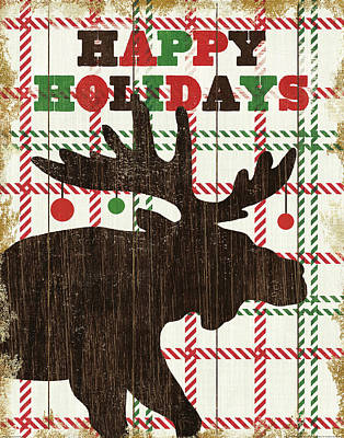 Animal Christmas Painting - Simple Living Holiday Moose by Michael Mullan