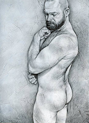 Male Nude Drawing Drawing - Simplicity 4 by Chris  Lopez