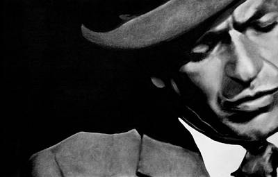 Frank Sinatra Drawing - Sinatra B/w by Leon Jimenez