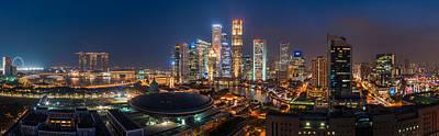 Wolkenkratzer Pyrography - Singapore - Skyline Panorama by Jean Claude Castor