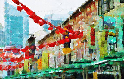 Local Attraction Painting - Singapore Chinatown Decorations Painting by George Fedin and Magomed Magomedagaev