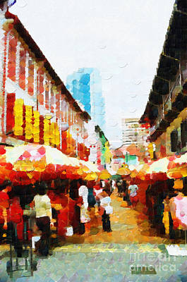 Local Attraction Painting - Singapore Chinatown Full Of People Painting by George Fedin and Magomed Magomedagaev