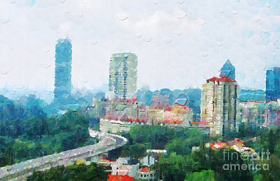 Local Attraction Painting - Singapore Highway Painting by George Fedin and Magomed Magomedagaev