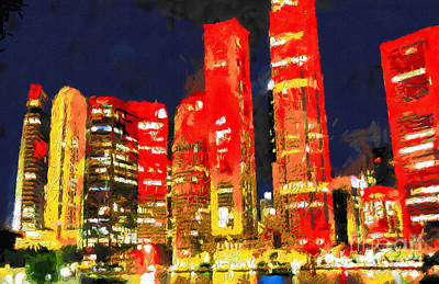 Local Attraction Painting - Singapore In The Night Painting by George Fedin and Magomed Magomedagaev