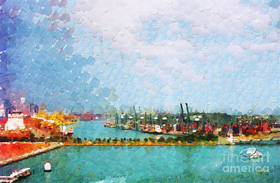 Local Attraction Painting - Singapore Shipyard Painting by George Fedin and Magomed Magomedagaev