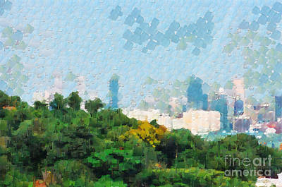 Local Attraction Painting - Singapore Skyscrapers Behind The Trees Painting by George Fedin and Magomed Magomedagaev