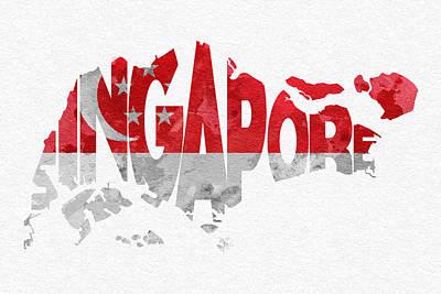 Singapore Digital Art - Singapore Typographic Map Flag by Ayse Deniz