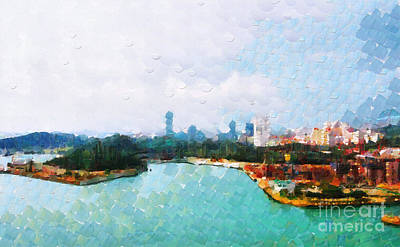 Local Attraction Painting - Singapore View From Harbour Painting by George Fedin and Magomed Magomedagaev