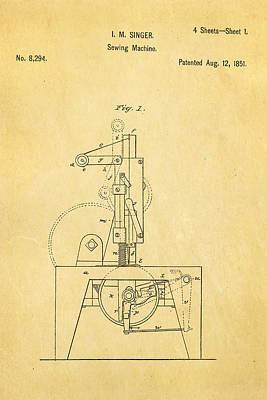 Singer Sewing Machine Patent Art 1851  Print by Ian Monk