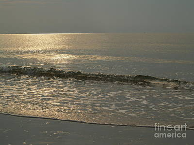 Single Breaker At Dawn On Hunting Island  Print by Anna Lisa Yoder