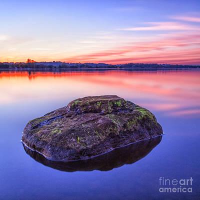 Single Rock In The Loch Print by John Farnan