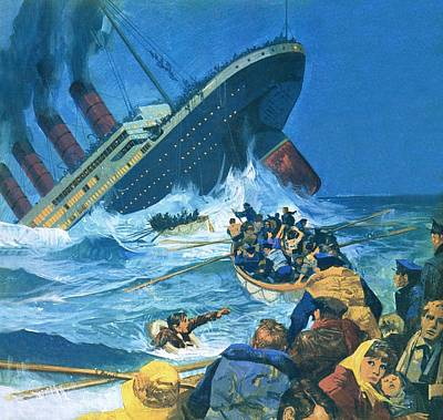 Sinking Of The Titanic Print by English School