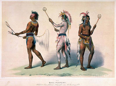 Sioux Drawing - Sioux Lacrosse Players by Granger