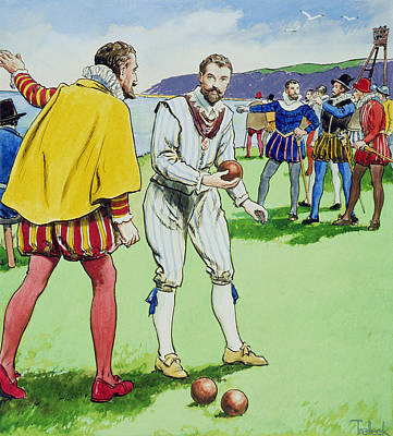 Explorer Drawing - Sir Francis Drake Playing Bowls by Trelleek