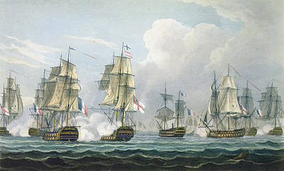 Sir Richard Strachans Action After The Battle Of Trafalgar Print by Thomas Whitcombe