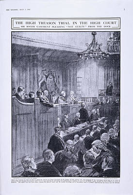 Sir Roger Casement In The Dock Print by British Library