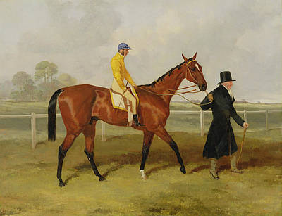 Sir Tatton Sykes Leading In The Horse Sir Tatton Sykes With William Scott Up Print by Harry Hall