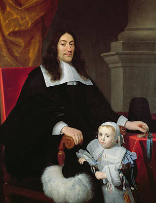 Sir William Davidson Of Curriehill 161516-89 With His Son, 1664 Print by Simon Luttichuys