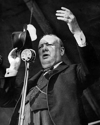 Sir Winston Churchill Public Speaker Print by Retro Images Archive