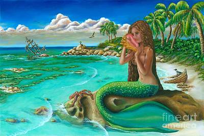 Pirate Ship Painting - Sirena's Cove by CheryLynn Ferrari