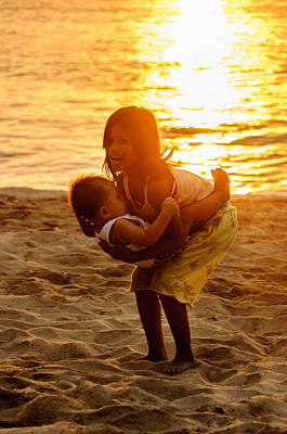 Adjectives Photograph - Sister And Brother On The Beach by Colin Utz