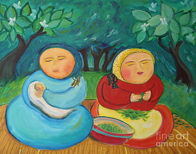 Painting - Sisters And Green Beans by Teresa Hutto