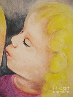 Childrens Book Illustration Painting - Sisters Kiss by Chrisann Ellis