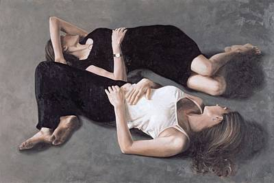Sisters Oil On Canvas Board Print by John Worthington