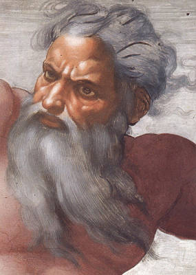 Zeus Painting - Sistine Chapel Ceiling Creation Of The Sun And Moon by Michelangelo Buonarroti