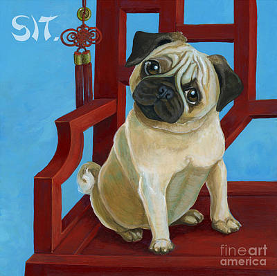 Fawn Pug Painting - Sit Pug Sit by Suzanne Rende-Chorno