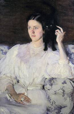 Sita And Sarita, Or Young Girl With A Cat Print by Cecilia Beaux