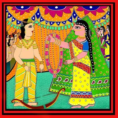 Madhubani Digital Art - Sita's Wedding by Latha Gokuldas Panicker