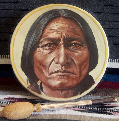 Sitting Bull Drum Print by Stu Braks
