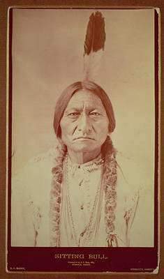 Hairstyle Photograph - Sitting Bull, Sioux Chief, C.1885 Bw Photo by David Frances Barry