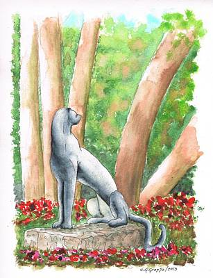 Sitting Cheetah Sculpture In The Norton Simon Museum - Pasadena - California Original by Carlos G Groppa