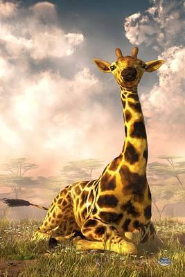 Giraffe Digital Art - Sitting Giraffe by Daniel Eskridge