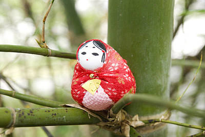 Doll Photograph - Sitting In Bamboo - Red by William Patrick
