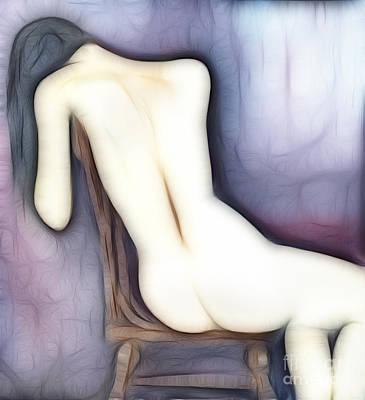 Sitting Nude Figure Print by Michal Boubin