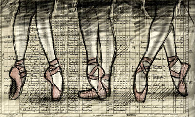 Ballet Shoes Drawing - Six Feet by H James Hoff
