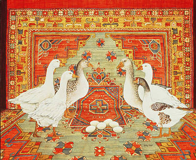Persian Carpet Photograph - Six Geese A-laying by Ditz