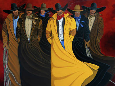 Cowgirl Painting - Six Pac by Lance Headlee