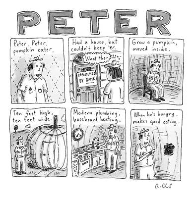 Peach Drawing - Six Rhyming Panels About A Man Who Moves by Roz Chast