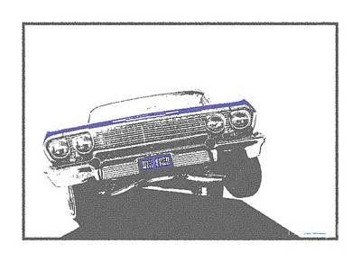 Lowrider Digital Art - Six Trey - 63 Impala Lowrider by Colin Tresadern