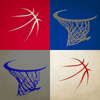Sixers Ball And Hoop Print by Joe Hamilton