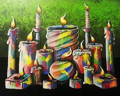 Sixteen Colorful Candles With Flames Glowing Brightly Print by Loraine Griffin