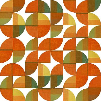 Geometric Painting - Sixty Four Quarters by Michelle Calkins