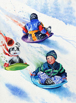 Winter Sports Painting - Sizzling Saucers by Hanne Lore Koehler