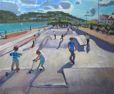 Skateboaders  Teignmouth Print by Andrew Macara
